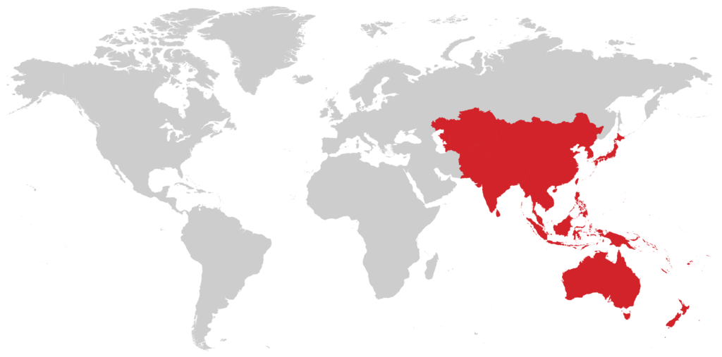 Asia Pacific region in a diagram